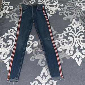 Zara High-waisted red stripe jeans